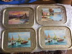 Set of 4 Metal Trays Pretty Scenes On Them by Daysgonebytreasures, $20.00