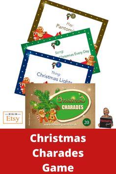 Christmas Games For Family Cards Christmas Games For Family, Xmas Games, Christmas Party Games, Charades Game, Game Cards, Etsy Christmas, Christmas Lights, Christmas Time