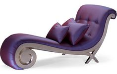 I chose this nice purple chaise lounge because it has a unique influence. Its curviness along with the shiny upholstery gives character to room. I also like the buttoned back of the chaise lounge. Purple Furniture, Funky Furniture, Unique Furniture, Furniture Chairs, Leather Furniture, Luxury Furniture, Furniture Design, Purple Home, Chair For Kids Room