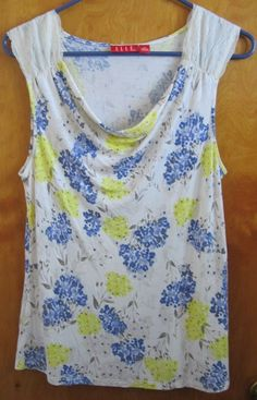 Womens Sleeveless Shirt by ELLE Yellow Blue Floral Lace SIZE MEDIUM Slouch Neck #ELLE #KnitTop #Casual