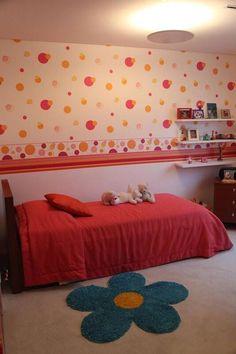 papel de parede infantil quarto de menina geométrico rosa e laranja simone collet  - Imagem para papel de parede