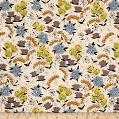 Designed by the De Leon Design Group for Alexander Henry, this cotton print fabric features colorful flowers and is perfect for quilting, apparel and home decor accents. Colors include black, dark lavender, pale yellow, chartreuse, golden orange, pale pink and shades of blue.
