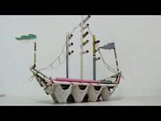 DIY Newspaper Crafts, How to make Pirate Ship. DIY Newspaper Crafts, How to make Pirate Ship Welcome back, today we will show you how to make pirate ship using recycled newspaper and egg cartons. For this newspaper crafts, you can do it yourself at home Pirate Ship Craft, Pirate Crafts, Pirate Ships, Diy Arts And Crafts, Crafts For Kids, Diy Crafts, Cool Diy, School Bus Crafts, Transportation Crafts