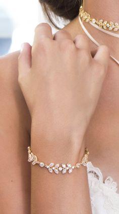 Boho Wedding Jewelry, Gold Bridal Bracelet, Leaf Bracelet, Jewelry for Bride, Wedding Accessories, Bohemian Wedding, Cubic Zirconia
