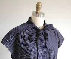 1970s Secretary Dress / Vintage Short Sleeve Navy by reclaimer