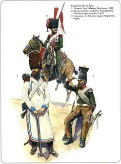 Napoleon's German Allies. Westfalia and Kleve-Berg Grand duchy of Berg 1-Pionneer 2nd Infantry Regiment 1812 2-Trooper, Elite Company, 1st Regiment Chevau-léger Lanciers 1812 3-Corporal 1st Chevau-Légers,Regiment Spain