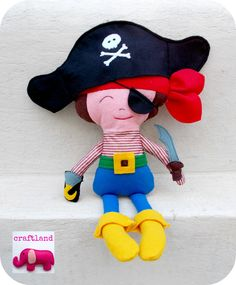 Dolls And Daydreams, Fabric Dolls, Sword, Smurfs, Pirates, Patches, Felt, Hats, Pattern