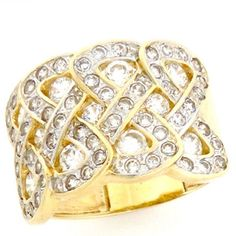 14k Solid Yellow Gold Infinity Large Cluster Band Ring *** Special  product just for you. See it now! : Jewelry Ring Bands