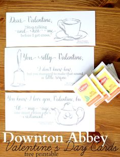 downton abbey free printable valentines