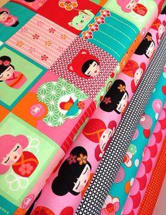 Hello Tokyo Quilt Fabric bundle by Lisa Tilse for Robert Kaufman Fat quarter bundle- 6 total on Etsy, $18.00