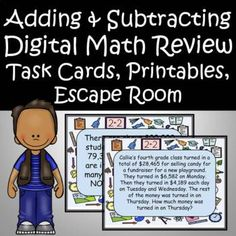Mega Math, Math Assessment, Math Task Cards, Math Word Problems, Adding And Subtracting, Math Fractions, Alphabet Worksheets, 4th Grade Math, Escape Room