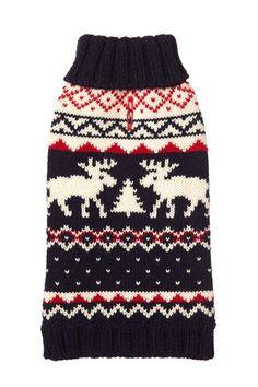 The Fish & Bone - FAB DOG Navy Moose Sweater