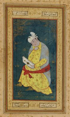Seated Indian youth | 1610-1620, Safavid period | Ink, opaque watercolor and gold on paper; H: 28.5 W: 19.8 cm; Iran