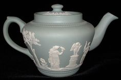 Dudson England Teapot Sage Green Jasperware Classical Motif 1940s – Antiques And Teacups
