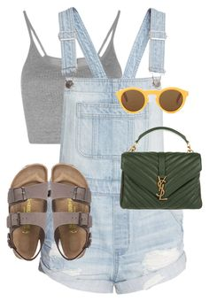 """""""Untitled #13458"""" by alexsrogers ❤ liked on Polyvore featuring Topshop, Birkenstock, CÉLINE and Yves Saint Laurent"""