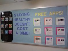 Free Fitness Apps! bulletin board in PE