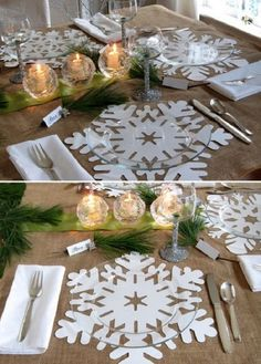 127 gorgeous diy thanksgiving & christmas table decorations & centerpieces page 39 Christmas Table Settings, Christmas Tablescapes, Christmas Table Decorations, Holiday Tables, Decoration Table, Diy Christmas Gifts, Christmas Time, Snowflake Centerpieces, Diy Thanksgiving