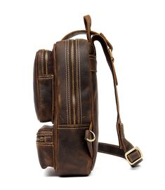 Vintage Leather Sling Backpack for Men Cow Leather, Vintage Leather, Vintage Men, Leather Bag, Sling Backpack, Leather Backpack, Sport Casual, Crossbody Shoulder Bag, Messenger Bag