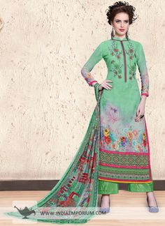 Graceful Green Georgette Digital Print with Thread Embroidery Pant Suit