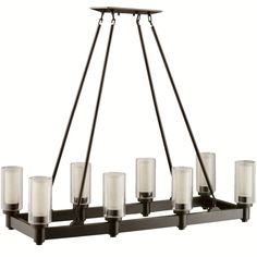 """Kichler 2943 Circolo 8 Light 36"""" Wide Chandelier with Dual Cylinder Shades Olde Bronze Indoor Lighting Chandeliers Linear"""