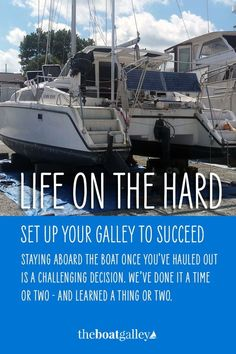Yes, you can live on a boat while it's hauled out in a yard. Here are the tips you need to keep in mind. Living On A Boat, The Real World, Fishing Boats, Challenges, Yard, Live, Water, Gripe Water, Patio