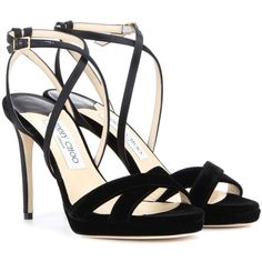 Jimmy Choo Lola 100 Velvet Sandals (17 860 UAH) ❤ liked on Polyvore featuring shoes, sandals, black, black velvet shoes, jimmy choo sandals, velvet shoes, velvet sandals and jimmy choo shoes