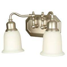Heritage Brushed Nickel Two-Light Bath Fixture with Frosted White Glass from Jeremiah by Craftmade $82.00