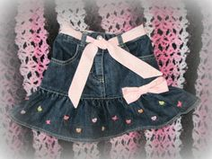 Upcycled Repurposed Denim Jean Skirt Hearts & by TwoCottageChicks, $15.00....Love it!