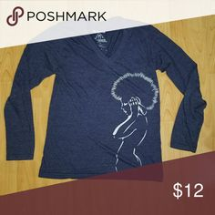 Music Long Sleeve This cotton v-neck long sleeve with a graphic of a women listening to headphones. Navy blue shirt with light blue screen print. Slim fit.  Designed by an artist from Upper Playground, a clothing & art boutique in San Francisco. Upper Playground Tops Tees - Long Sleeve