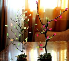 home fall decor - branches with colorful paper leaves