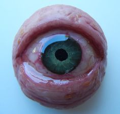 polymer clay, acrylic paint, resin eye