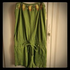 Olive Green Romper Removable and adjustable straps. Never been worn. Swim Coverups