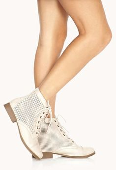Perforated Combat Boots | FOREVER21 - 2000126563