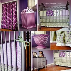 Girl Nursery- this purple is too dark but I like the purple and green
