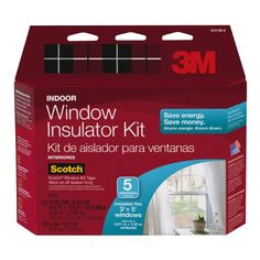 3M Indoor Window Insulator Kit, 5-Window Included: (1) 5.16' x 17.5' film sheet, (2) rolls of tape, 1/2 x 27.7 yd. Insulates five 3' x 5' windows. Lowers heating costs and saves energy. Applies easily, shrinking tight, wrinkle-free and clear on glass. Increasing the R-value of single pane window by 90%.  #3M #Home_Improvement