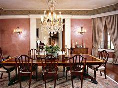 Harrison Design Associates Projects Home Building Design, Building A House, Venetian Plaster Walls, Harrison Design, Plastering, Dining Rooms, Murals, Chandelier, Interiors