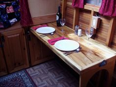 Interior Construction | Baldwin Gypsy Caravan | retractable dining table under berth