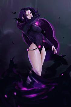 Comics Girls, Dc Comics, Raven Fanart, Raven Teen Titans Go, Raven Beast Boy, Character Art, Character Design, New Titan, Teen Titans Raven