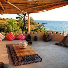 The open terrace at Ndomo Point House, Likoma Island Malawi