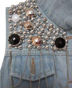 Light Blue Paillette Embellishment Denim Vest in Punk Style Sequin Jeans, Studded Jeans, Embellished Jeans, Punk Fashion, Denim Fashion, Denim Vests, Denim And Diamonds, Denim Crafts, Patched Jeans