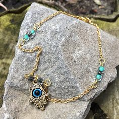 Gold Hamsa Anklet Hand of Fatima Anklet Chakra Jewelry Gold