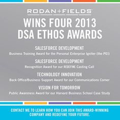 Rodan + Fields wins FOUR 2013 DSA Ethos Awards! #proud #business owner #ownyourownbusiness
