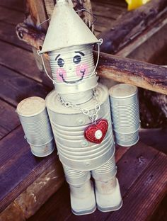 Super cute tin man made out of cans..I've had these guys for years courtesy of my Mom and a man that made them in KawKawlin, MI. He also did a tin girl. These will be my summer project. Let me know if you can save cans for me and when I've perfected it I will make you one.