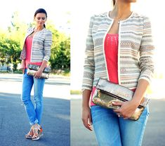 Mango Ikat Stripes Print Jacket, Victoria's Secret Golden Sparkles Clutch, Guess? Jeans