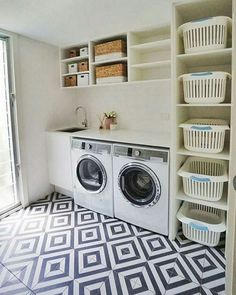 Laundry room storage ideas include installation of stock cabinetry, racks, shelves, etc. in a smart way to make the room look elegant and organized. room ideas organization 15 Perfect Small Laundry Room Storage Ideas To Consider 2 Modern Laundry Rooms, Laundry Room Layouts, Laundry Room Remodel, Laundry Room Cabinets, Farmhouse Laundry Room, Laundry Room Organization, Diy Cabinets, Laundry Storage, Laundry Closet