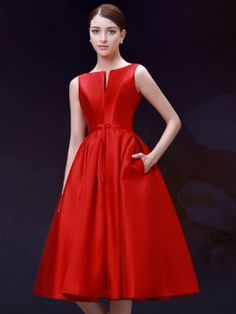 Shop Red Plunge Neck Bowknot Waist Lacing Back Midi Prom Dress from choies.com .Free shipping Worldwide.$67.99
