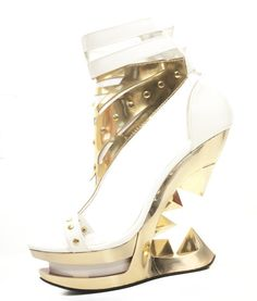 295df270420 SOLARA White And Gold Heels