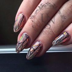 Fashion broken glass nails, Ideas of evening nails, Long nails, Modern nails, Nails trends 2017, Oval nails, Shattered glass nails, Shattered glass nails ideas