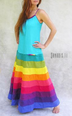 lasure dress with rainbow