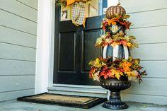 Spruce up your porch with @paigehemmis' #DIY #Pumpkin #Topiary. Don't forget to tune in to Home & Family every weekday at 10a/9c on Hallmark Channel!